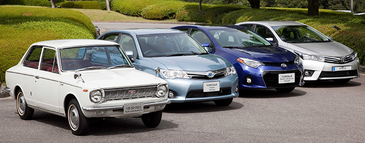 From left: 1966 Corolla; Japan, North America, and Europe market 11th generation models