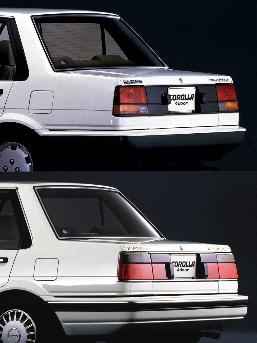 Top photo: Previous model, Bottom photo: Revamped model/The revamped model featured a reflex reflector in the rear combination lamp and an extra rear-end decorative finish.