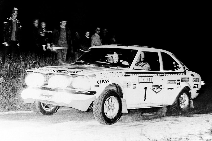 The Corolla touring car racing in the 1,000 Lakes Rally