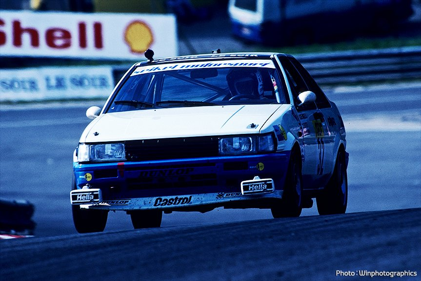 The AE86 Levin racing in the Total 24 Hours of Spa in 1983