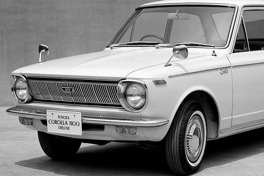 The first-generation Corolla was designed with a hood that has an enlarged center portion to allow for better air flow