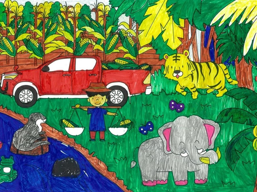 Grand Prize Winner - 3rd to 4th graders in elementary section: Ms. Ichika Hase (8 years old) / Shizuoka, Japan