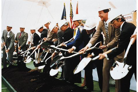 Groundbreaking ceremony at TMM (now TMMK) Kentucky plant in the U.S. (1986)