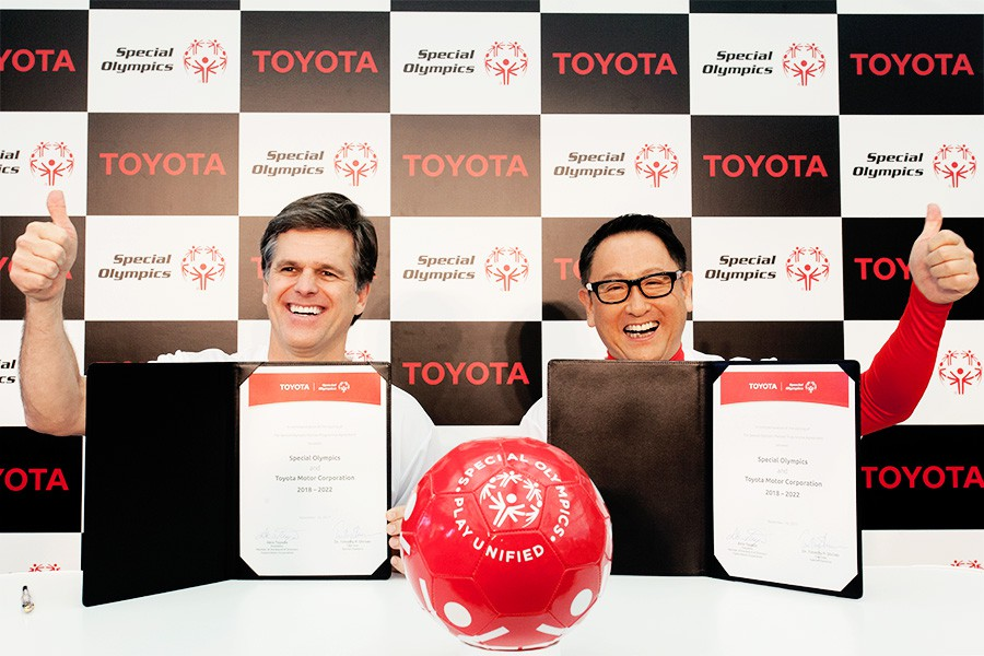 Special Olympics Chairman Timothy Shriver and Toyota President Akio Toyoda