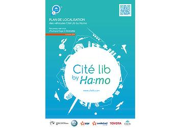 Tentative charging station map brochure (front cover) for Citélib by Ha:mo