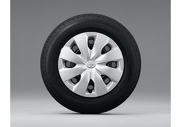 14インチスチールホイール&タイヤ ブラック塗装ホイール (樹脂フルキャップ付)