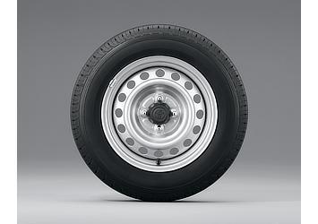 14インチスチールホイール&タイヤ シルバー塗装ホイール (センターキャップ付)
