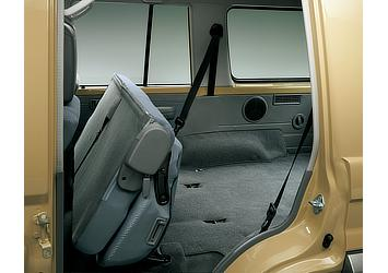 Land Cruiser 70 van rear bench seats in stowed position (Japan commemorative re-release)