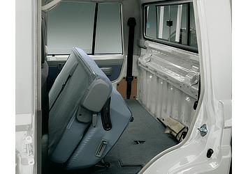 Land Cruiser 70 pickup rear bench seats in stowed position (Japan commemorative re-release)