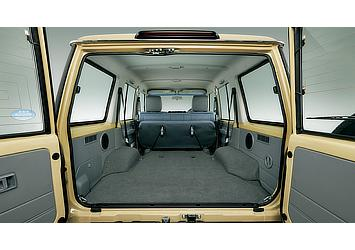 Land Cruiser 70 van cargo space with rear bench seats in stowed position (Japan commemorative re-release)