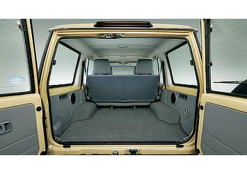 Land Cruiser 70 van cargo space with rear bench seats in use (Japan commemorative re-release)