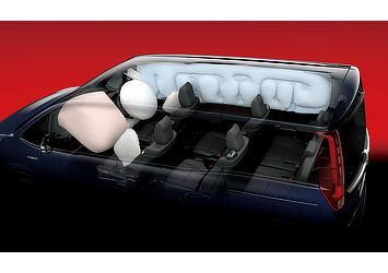 SRS airbags (driver and front passenger), SRS knee airbags (driver)/SRS side air bags (driver and front passenger), SRS curtain shield air bags (first-, second-, and third-row seats)
