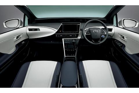 Toyota Mirai fuel cell sedan interior (Blue White)