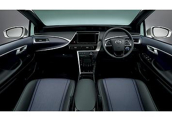 Toyota Mirai fuel cell sedan interior (Blue Black)