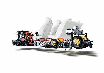 Toyota Mirai fuel cell sedan powertrain and seats