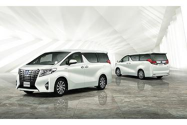 "Toyota Alphard and Vellfire 30 Series Alphard G ""F Package"" (hybrid; white pearl crystal shine; options shown)"