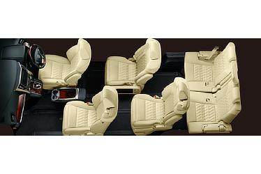 "Toyota Alphard and Vellfire 30 Series Alphard seating configuration (super-long-slide passenger seat in ""double-triangle"" mode)"
