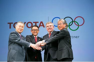 森喜朗会長(東京オリンピック・パラリンピック競技大会組織委員会)、豊田社長、IOCバッハ会長、IOC竹田恆和(つねかず)マーケティング委員長(兼 日本オリンピック委員会会長)