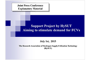 Support Project by HySUT Aiming to stimulate demand for FCVs