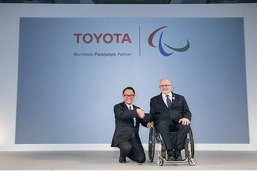 Toyota President Akio Toyoda and International Paralympic Committee President Sir Philip Craven