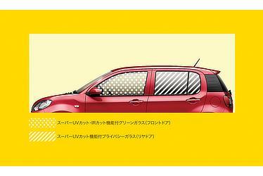 スーパーUV・IRカットグリーンガラス(フロントドア) / スーパーUVカット機能付プライバシーガラス(リヤドア)