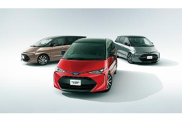 (左):エスティマ AERAS PREMIUM-G (ブラック×ダークシェリーマイカメタリック) 〈オプション装着車〉 (中):エスティマ ハイブリッド AERAS PREMIUM-G (ブラック×レッドマイカメタリック) 〈オプション装着車〉 (右):エスティマ AERAS PREMIUM-G (ブラック×アイスチタニウムマイカメタリック) 〈オプション装着車〉