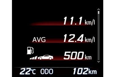 マルチインフォメーションディスプレイ (瞬間燃費/平均燃費/航続可能距離)