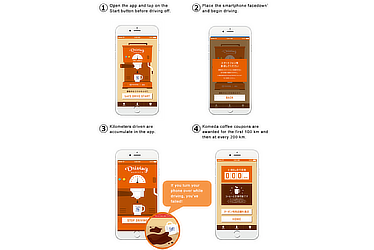 Screenshots of Driving Barista app