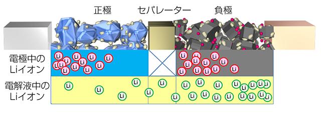 放電時における電解液中のLiイオンの偏り