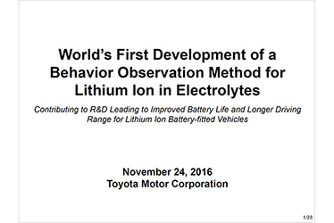 Toyota Develops World's First Behavior Observation Method for Lithium Ions in Electrolyte