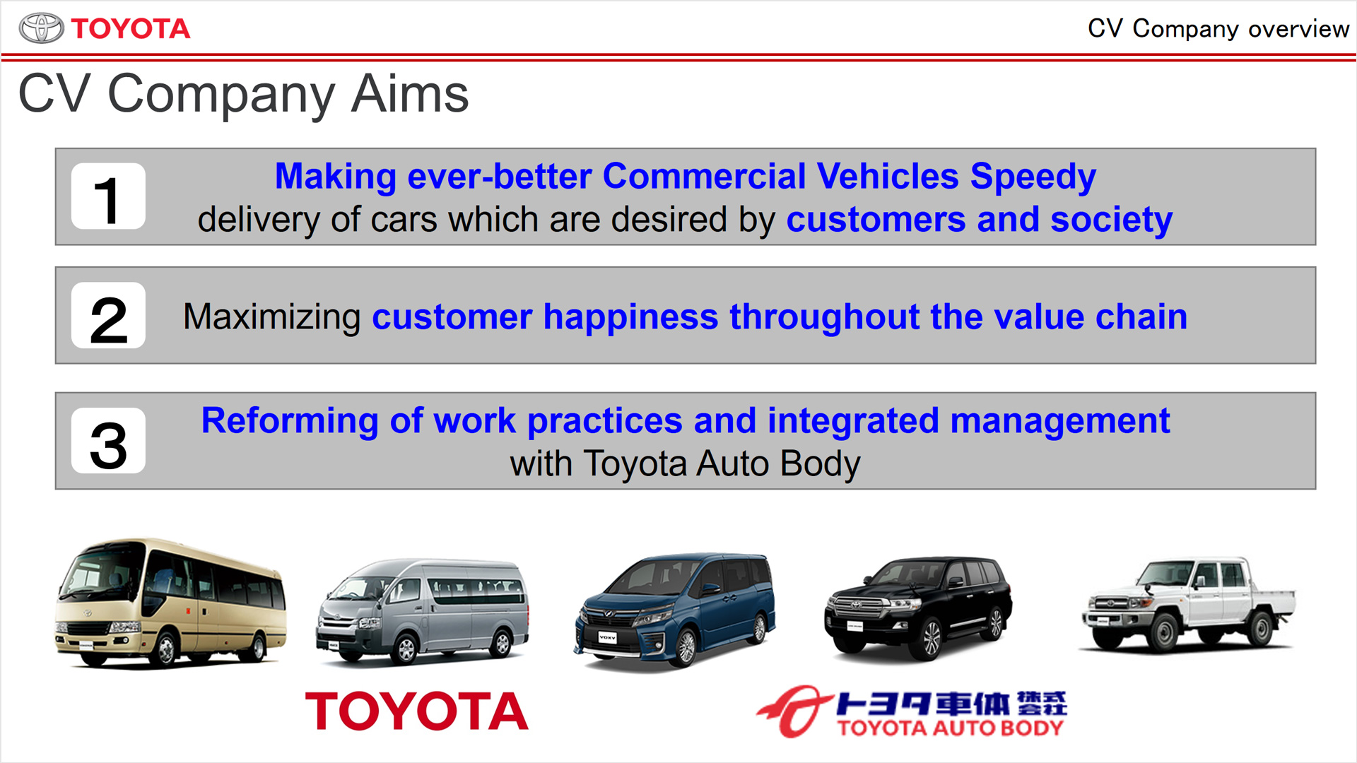 cv company briefing toyota global newsroom now i would like to talk about three broad topics which cover what the cv company is going to work on