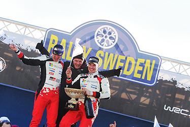 【ドライバー】ミーカ・アンティラ/【チーム代表】トミ・マキネン/【ドライバー】ヤリ-マティ・ラトバラ 2017 WRC Round 2 RALLY SWEDEN