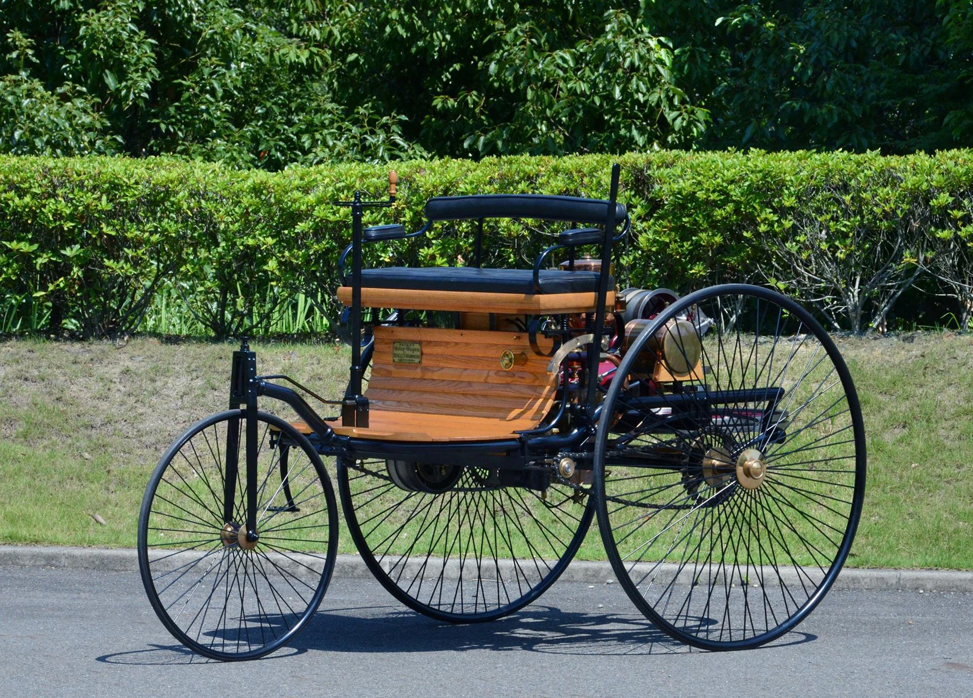 benz patent motorwagen replica display toyota global newsroom. Black Bedroom Furniture Sets. Home Design Ideas