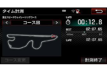 GRMN専用T-Connectナビ(ラップタイムデータ画面)<オプション装着車>