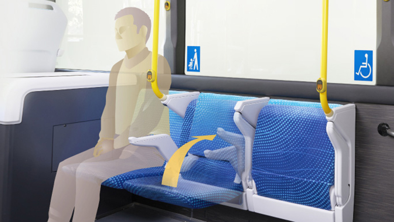 Horizontal seats with an automatic storage mechanism