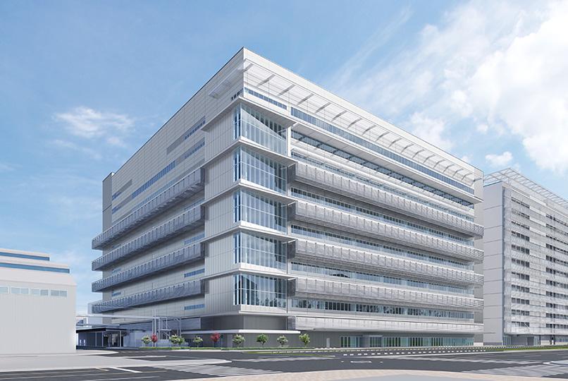 本社工場敷地内に建設中のFCスタック生産用建屋(外観)