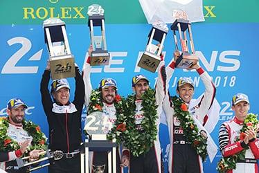 【ドライバー】ホセ・マリア・ロペス/【GAZOO Racing Company President】友山 茂樹/【ドライバー】セバスチャン・ブエミ/中嶋 一貴/フェルナンド・アロンソ 2018-19 WEC Round 2 Le Mans 24 Hours