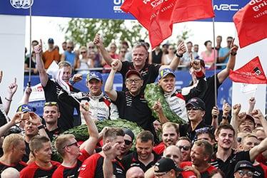 Martin Järveoja, driver / Tommi Mäkinen, Team Principal / Akio Toyoda, Team Chairman / Ott Tänak, driver; 2018 WRC Round 8 RALLY FINLAND