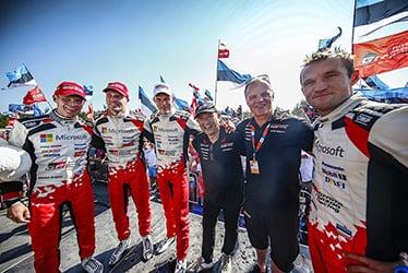 Miikka Anttila / Jari-Matti Latvala / Ott Tänak, driver / Akio Toyoda, Team Chairman / Tommi Mäkinen, Team Principal / Martin Järveoja, driver; 2018 WRC Round 8 RALLY FINLAND