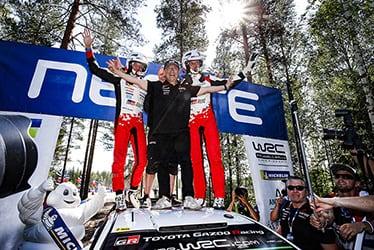 【ドライバー】マルティン・ヤルヴェオヤ/【チーム総代表】豊田 章男/【ドライバー】オット・タナック 2018 WRC Round 8 RALLY FINLAND