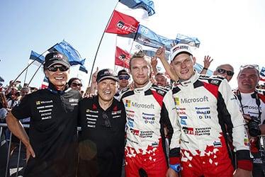 【GAZOO Racing Company President】友山 茂樹/【チーム総代表】豊田 章男/【ドライバー】マルティン・ヤルヴェオヤ/オット・タナック 2018 WRC Round 8 RALLY FINLAND