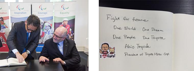 社長 豊田とIPCクレイヴァン会長(当時)/Fight for Future, One World, One Dream, One People