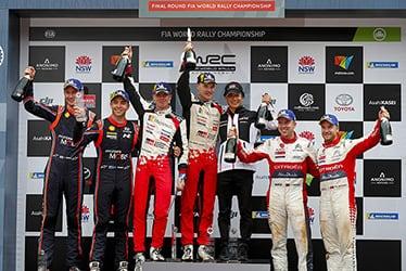 【ドライバー】ミーカ・アンティラ/【GAZOO Racing Company President】友山 茂樹/【ドライバー】ヤリ-マティ・ラトバラ 2018 WRC Round 13 Rally Australia