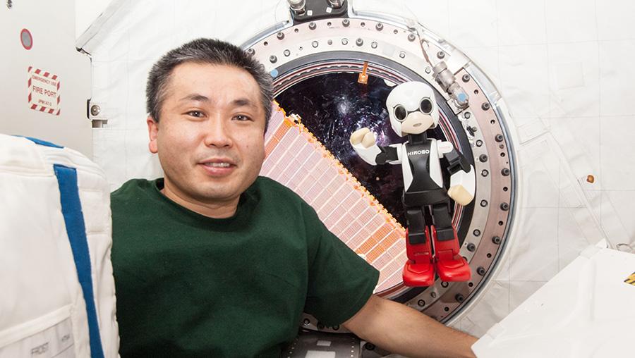 Kirobo and Commander Wakata on board the ISS