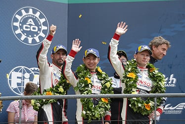 José María López / Kamui Kobayashi, driver / Hisatake Murata, Team President / Mike Conway, driver; 2018-19 WEC Round 8 Le Mans 24 Hours