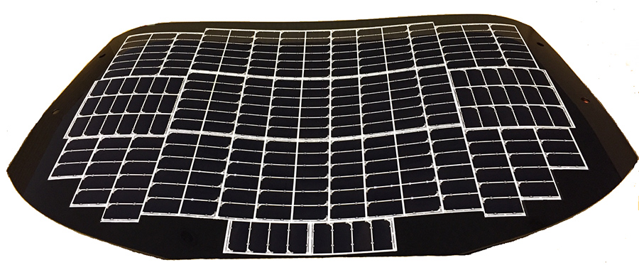 Figure 2: Solar battery panel consisting of several solar battery cells (rear hatch door portion)