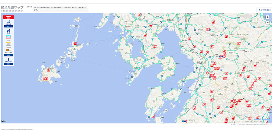 Passable roads in Japan map