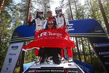 【ドライバー】マルティン・ヤルヴェオヤ/【GAZOO Racing Company President】友山 茂樹/【ドライバー】オィット・タナック/【チーム代表】トミ・マキネン 2019 WRC Round 9 Rally Finland