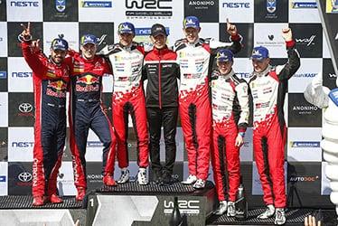 【ドライバー】マルティン・ヤルヴェオヤ/【GAZOO Racing Company President】友山 茂樹/【ドライバー】オィット・タナック/ミーカ・アンティラ/ヤリ-マティ・ラトバラ 2019 WRC Round 9 Rally Finland