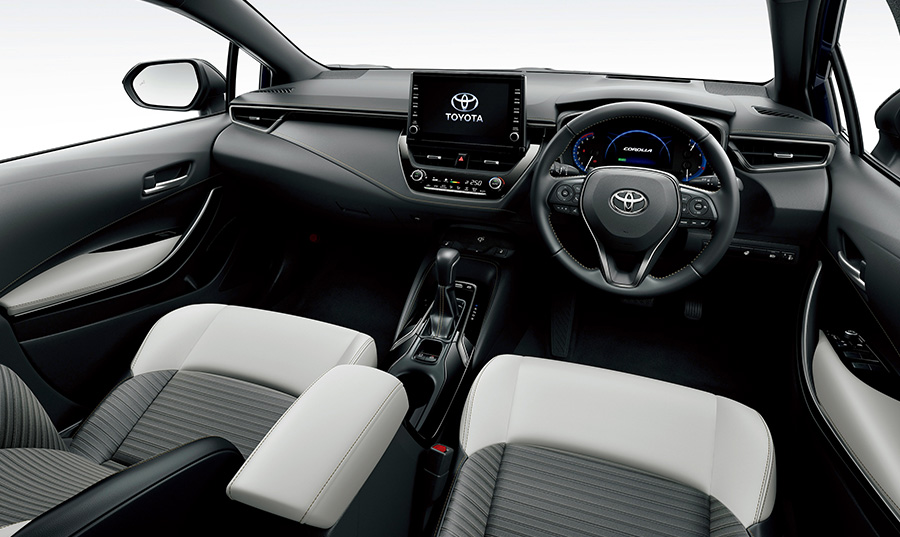 Corolla Touring, HYBRID WxB, black interior, white seats (options shown)